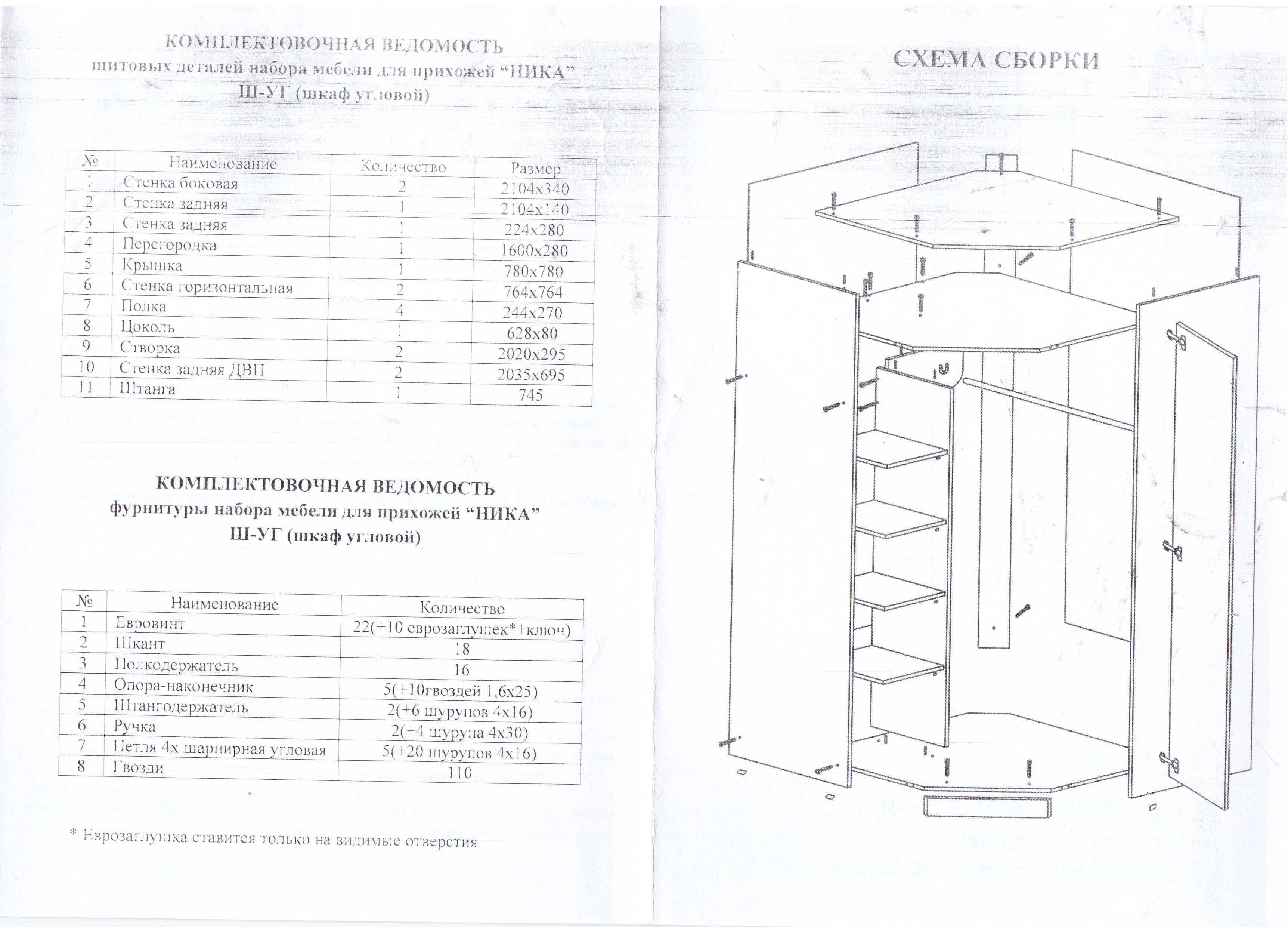 угловой шкаф инструкция по сборке